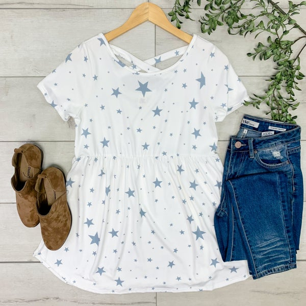 Star Print Babydoll Top, White