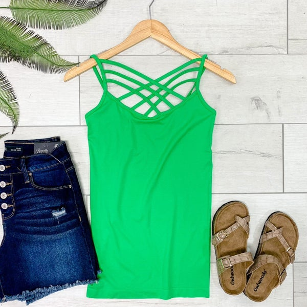 Criss Cross Neck Cami, Bright Green