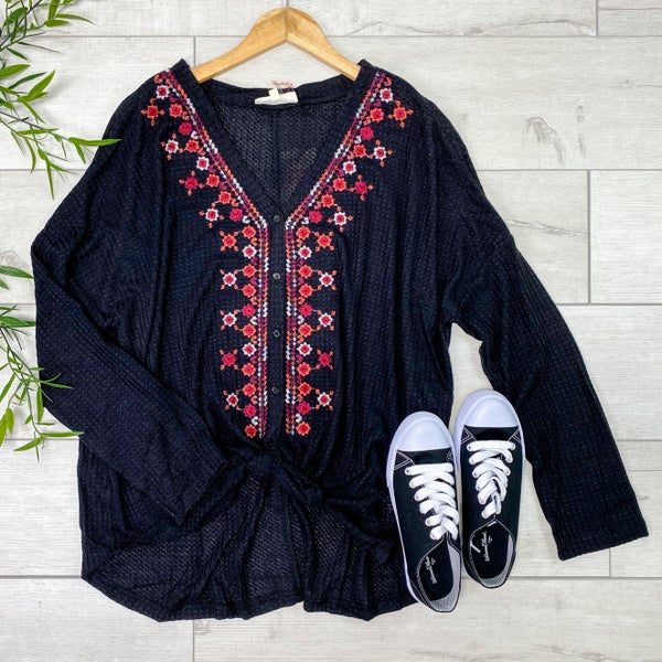 *PLUS* Embroidered Waffle Knit Button Down Top, Black