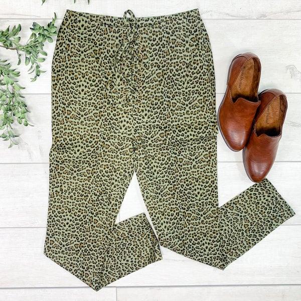 Leopard Print Lace Up Pant, Olive
