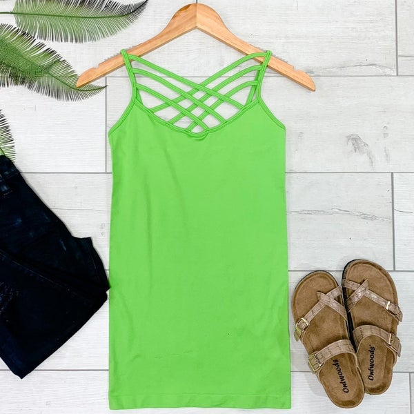 Criss Cross Neck Cami, Green