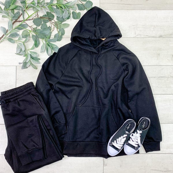 *PLUS* Hooded Raglan and Pant Set, Black