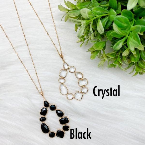 Teardrop Crystal Stone Long Necklace *Final Sale*