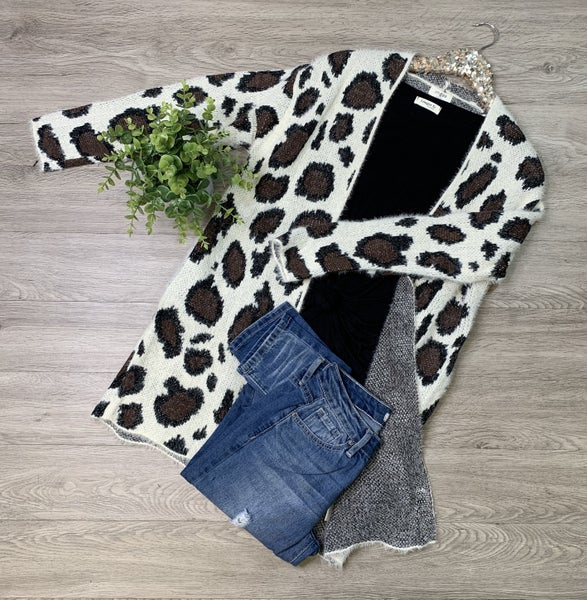 *Kendra's Collection* Animal Print Sweater Cardigan, Cream Mix