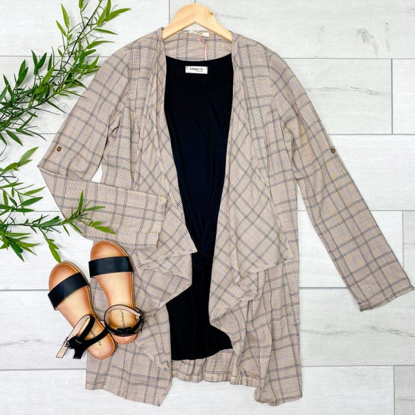 Plaid Lightweight Open Cardigan, Taupe
