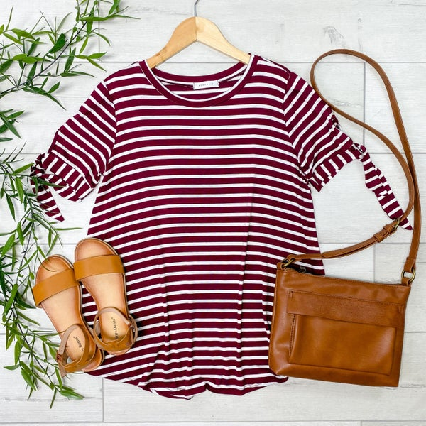 Striped Tie Sleeve Top, Wine