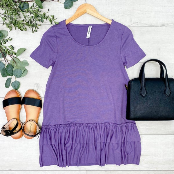 Short Sleeve Round Neck Ruffle Bottom Top, Lilac Gray[[LIVE]]