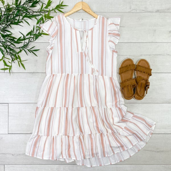 Striped Ruffle Sleeve Tiered Dress, Orange