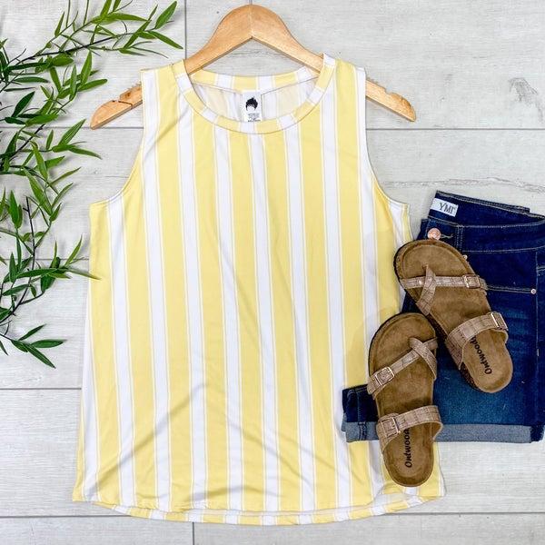 Vertical Striped Tank, Yellow