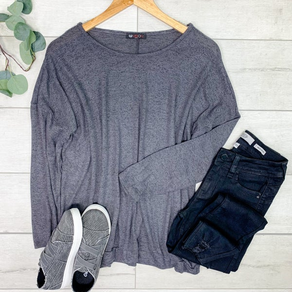 Brushed Knit Top, Charcoal