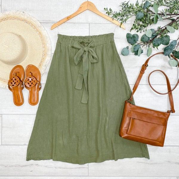Front Tie Midi Skirt, Olive