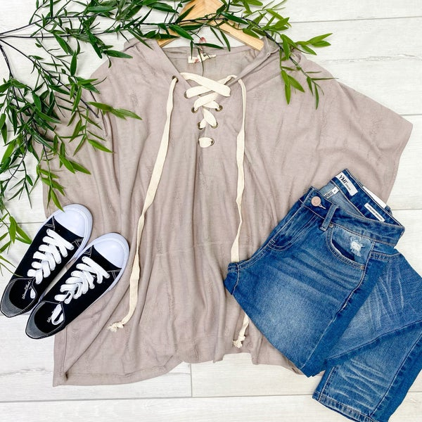 Distressed Criss Cross Top w/ Hood, Taupe