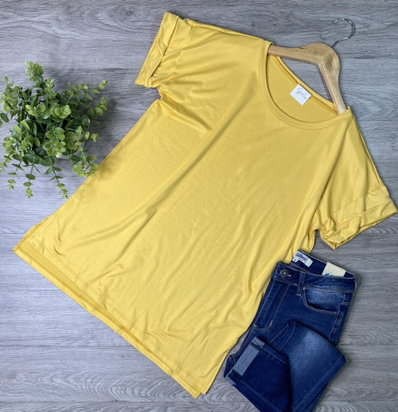 *Kendra's Collection* Hi-Lo Top, Mustard