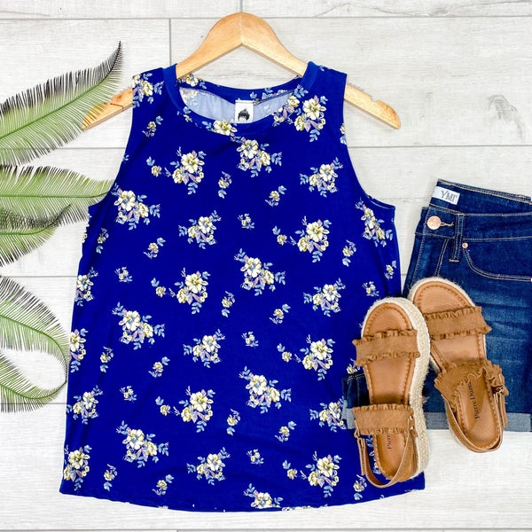 Floral Patterned Tank, Navy