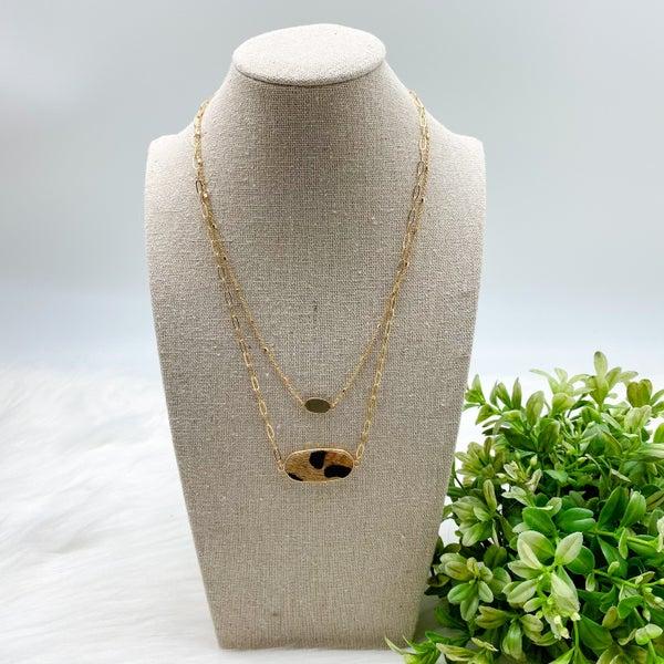 Short Layered Necklace,  Leopard *Final Sale*