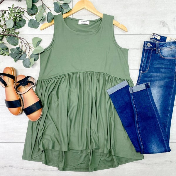 Sleeveless Babydoll Top, Light Olive