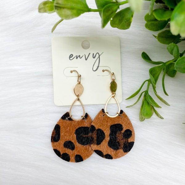Animal Print Teardrop Earrings, Brown