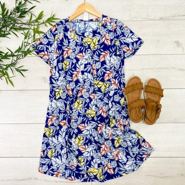 Feather Printed Swing Dress, Navy