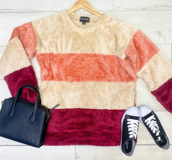 Color Block Striped Pullover w/ Pockets, Cabernet