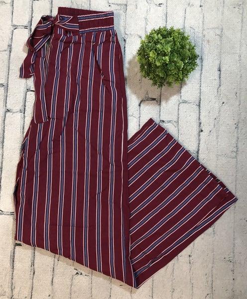 Striped Pants w/Tie Waist, Burgundy (N)