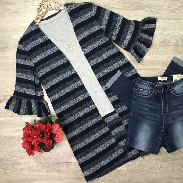 Striped Ruffle Sleeve Cardigan, Navy