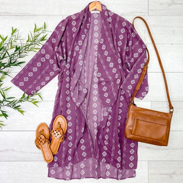 Patterned Flyaway Kimono, Wine