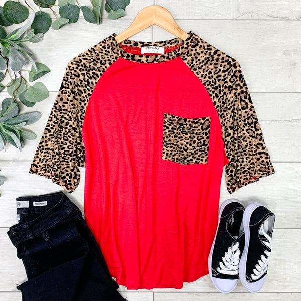 Leopard Sleeve Raglan, Ruby