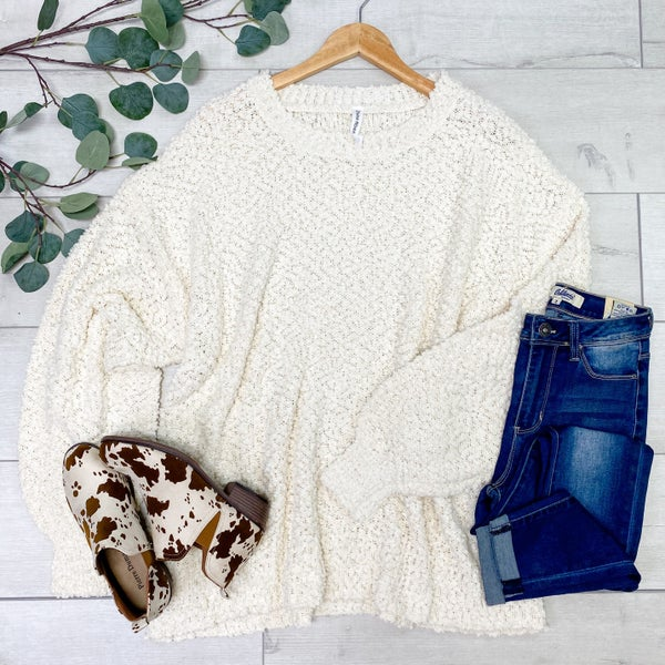 *PLUS* Solid Popcorn Sweater, Cream
