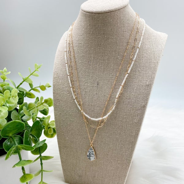 Short Layered Stone Necklace, White *Final Sale*