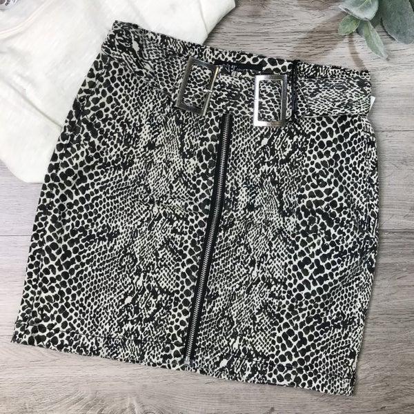 **YMI** Python Print Skirt w/Belt, Taupe