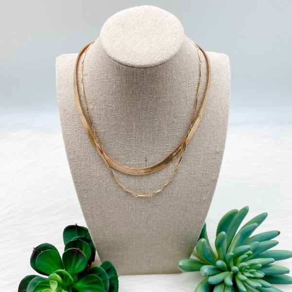Snake Chain Layered Necklace, Gold