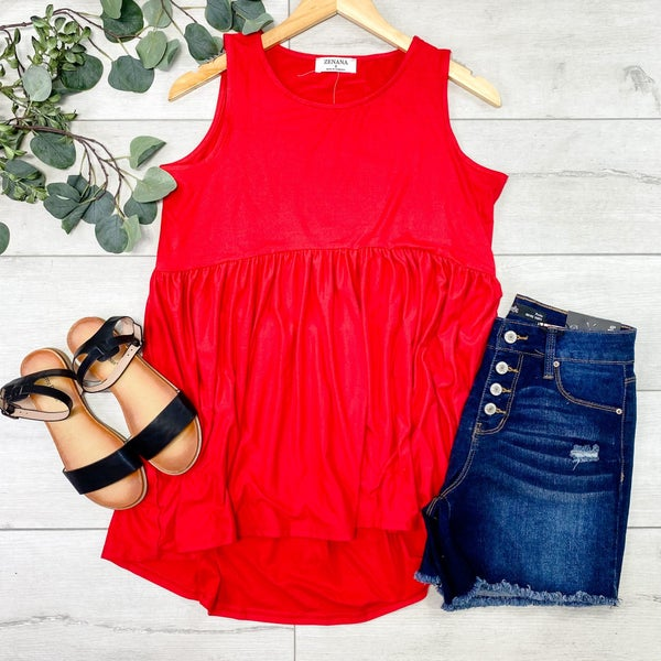 Sleeveless Babydoll Top, Ruby