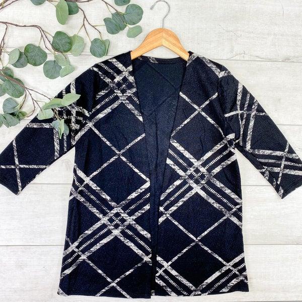 Striped Textured 3/4 Sleeve Cardigan, Black *Final Sale*