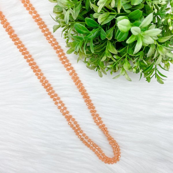 "Crystal Beaded 80"" Long Wrap Necklace, Peach *Final Sale*"