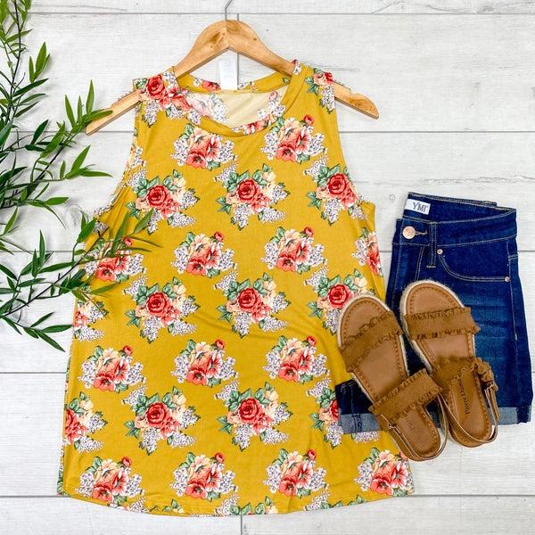 Floral Print Tank, Mustard