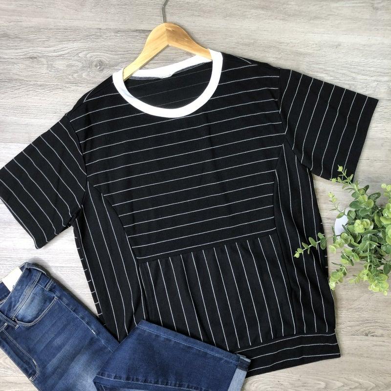 Striped Short Sleeve Top- Black *Final Sale*