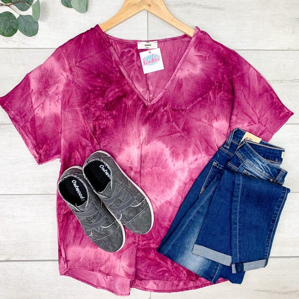 *Kendra's Collection* Tiedye V-Neck Top, Grape