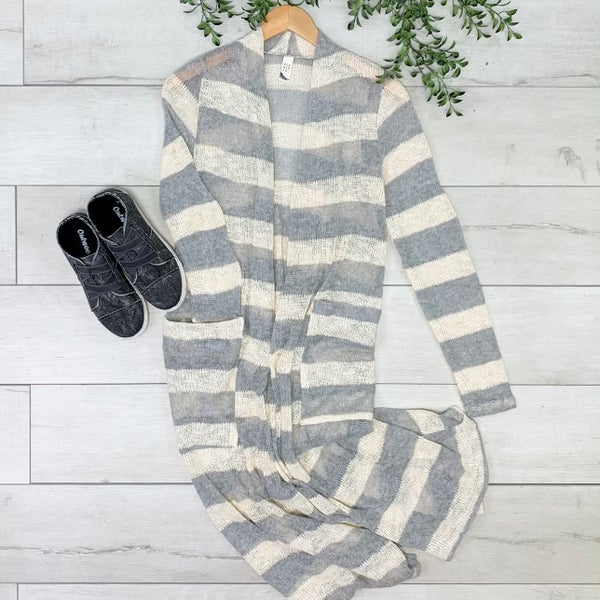 Striped Knit Duster Cardigan, Gray *Final Sale*