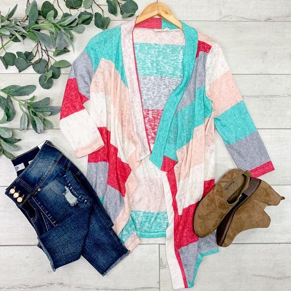 Striped Knit Cardigan, Multi Color