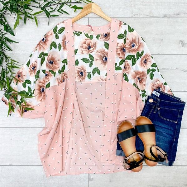 Contrast Floral and Polka Dot Kimono, Blush