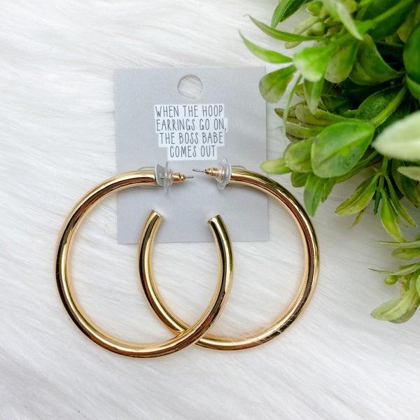 Bold Shiny Hoop Earrings, Gold