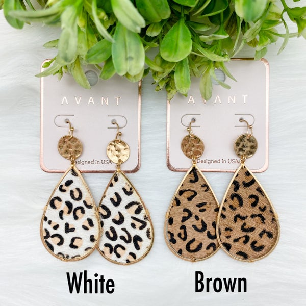 Leopard Teardrop Drop Earrings