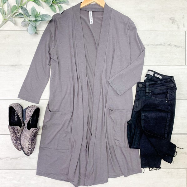 Solid Long Lightweight Cardigan w/ Pockets,  Mid Gray
