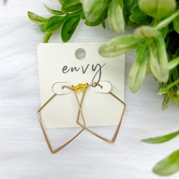 Rhombus Hoop Earrings, Gold