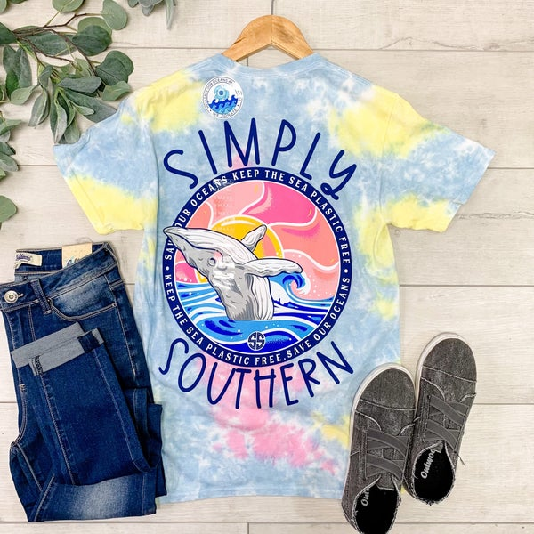 *Simply Southern* Save The Oceans Tie Dye T-Shirt, Skittles