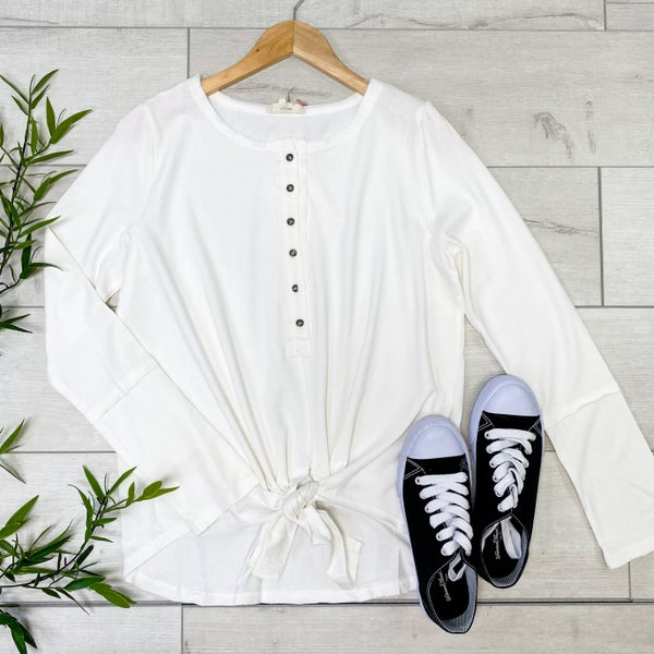 Long Sleeve Button Down Front Knot Top, Off White
