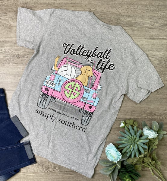 *Simply Southern* Volleyball is Life T-Shirt, Heather Gray