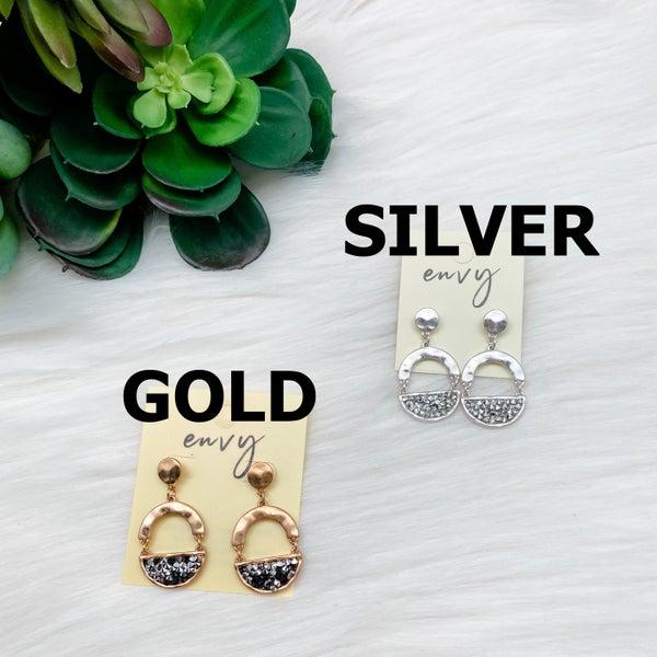 Rhinestone Metal Linked Oval Earrings