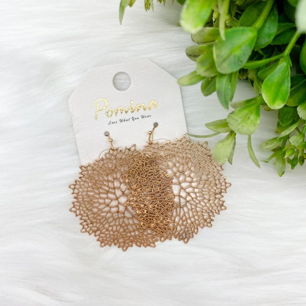 Floral Stencil Statement Earrings, Gold *Final Sale*