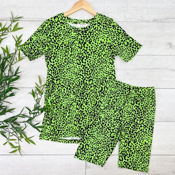 Leopard Biker Shorts Set, Green
